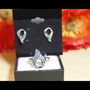 Beautiful Blue Opal Earrings/Ring SET